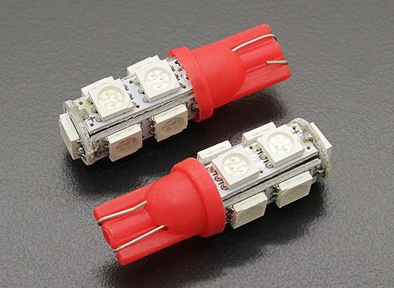 LED Corn Light 12V 1.8W (9 LED) - Rood (2 stuks)