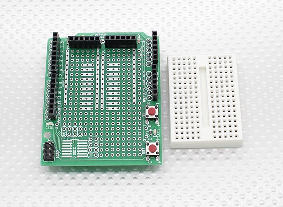 Kingduino Prototype Shield w / Expansion Breadboard