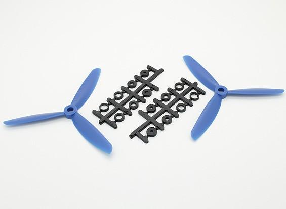Hobbyking ™ 3-Blade Propeller 5x4.5 Blue (CW / CCW) (2 stuks)