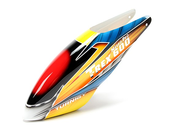 Turnigy High-End Fiberglass Canopy voor HK / Trex 600 Nitro Pro (geel / blauw / oranje)