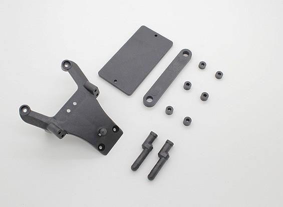 Voorzijde Shock Tower Holder en Battery Cover Plate - A2032