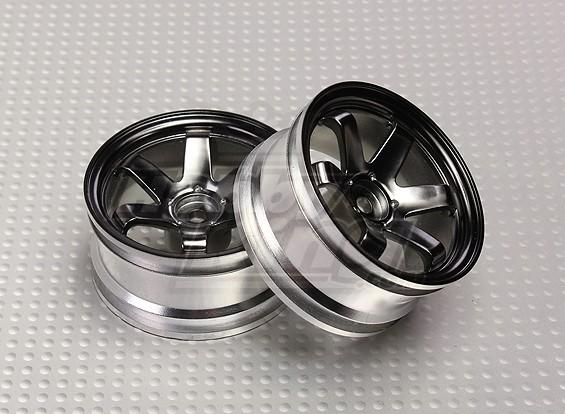 01:10 Schaal Wheel Set (2 stuks) Grijs 6-Spoke RC Car 26mm