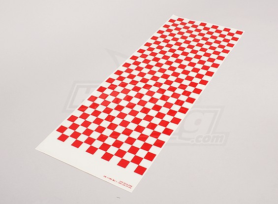 Decal Sheet Small Chequer Pattern Red / Clear 590mmx180mm