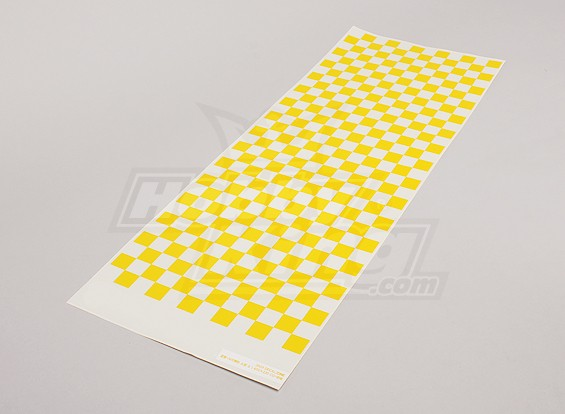 Decal Sheet Small Chequer Patroon Geel / Clear 590mmx180mm