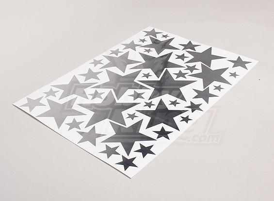 Stars Brushed Alloy Effect verschillende maten Decal Sheet 425mmx300mm