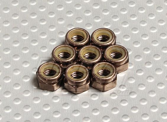Titanium Kleur geanodiseerd aluminium M5 Nylock Nuts (8 stuks)