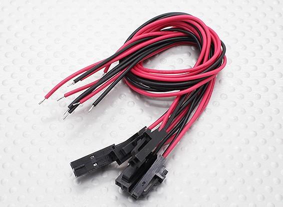 male 2-pins molex stekker met rood / zwart 20cm met PVC 26AWG draad (5 stuks)