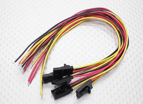 3 pins mannelijke Molex stekker met geel / rood / zwart 20cm met PVC 26AWG draad (5pcs / bag)