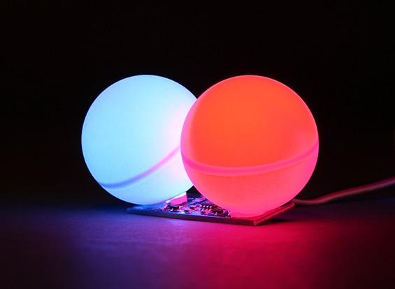 Twin LED PCB Strobe Afwisselend blauw en rood 3.3 ~ 6.0V met Twin Ball Diffuser