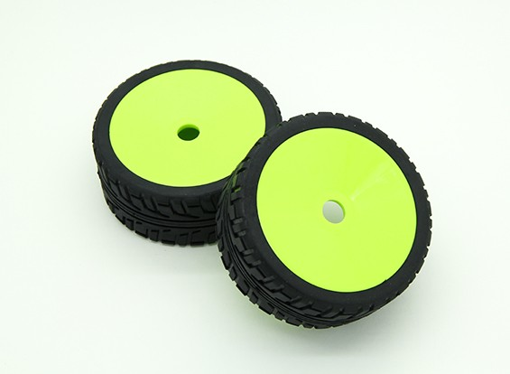 HobbyKing® 1/8 Rally Dish Fluorescent Green Wheel & On-road band 17mm Hex (2pc)