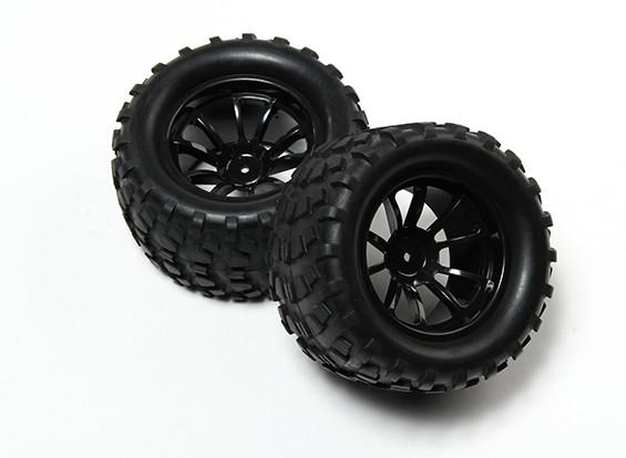 HobbyKing® 1/10 Monster Truck 10-Spoke Wheel Black & Block Pattern Tire 12mm Hex (2pc)