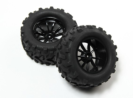 HobbyKing® 1/10 Monster Truck 10-Spoke Wheel Black & Arrow Pattern Tire (2pc)