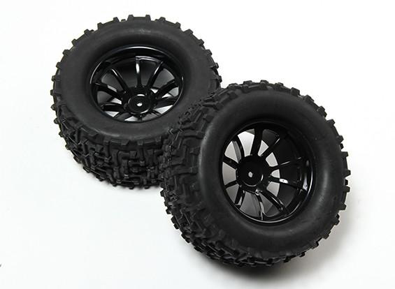 HobbyKing® 1/10 Monster Truck 10-Spoke Wheel Black & I-Pattern Tire 12mm Hex (2pc)