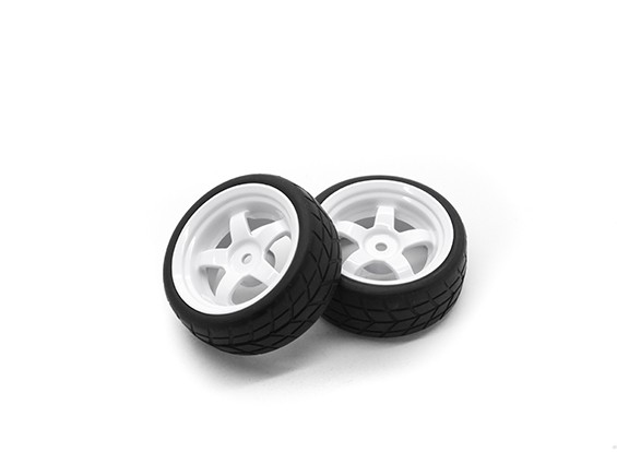 HobbyKing 1/10 wiel / band Set VTC 5 Spoke Achter (wit) RC Car 26mm (2 stuks)