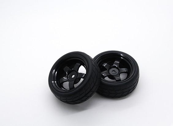 HobbyKing 1/10 wiel / band Set VTC 5 Spoke Achter (Zwart) RC Car 26mm (2 stuks)