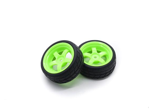 HobbyKing 1/10 wiel / band Set VTC 5 Spoke Achter (Groen) RC Car 26mm (2 stuks)
