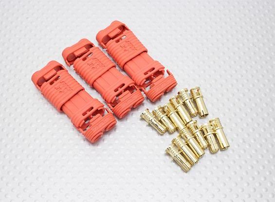 4mm RCPROPLUS Supra X Gold Bullet Polarised Battery Connectors (3pc)
