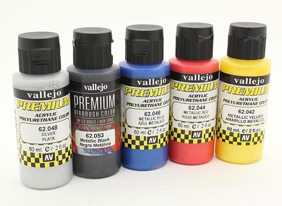 Vallejo Premium Color Acrylverf - Metallic Color Selection (5 x 60 ml)