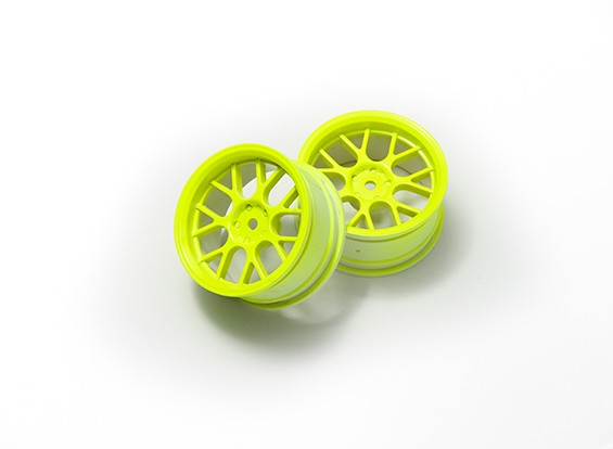 01:10 Wheel Set 'Y' 7-Spoke Fluorescent Yellow (3mm Offset)