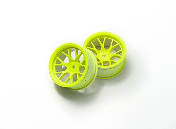 01:10 Wheel Set 'Y' 7-Spoke Fluorescent Yellow (9mm Offset)