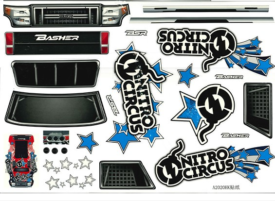 Decal set - Nitro Circus Basher 1/8 Schaal Monster Truck