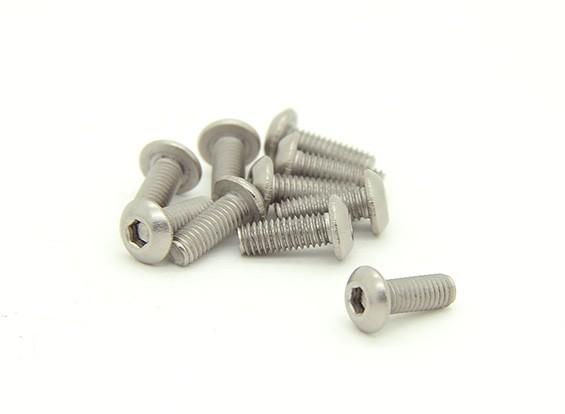 Titanium M3 x 8 mm Dome Head Hex Screw (10st / bag)
