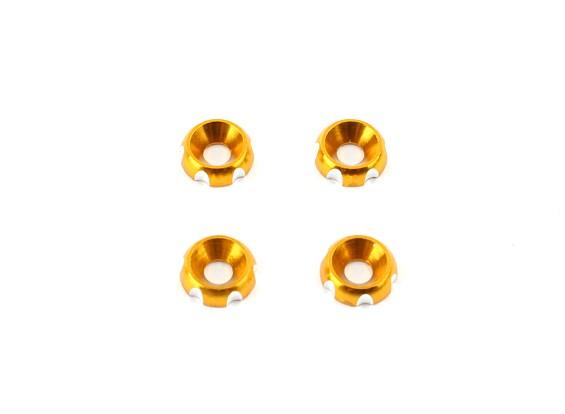 Aluminium 3mm CNC Verzonken Washer - Gold (4 stuks)