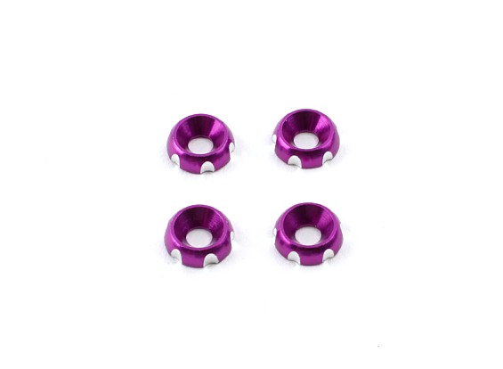Aluminium 3mm CNC Verzonken Washer - Purple (4 stuks)