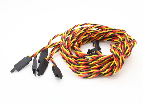 Twisted 100cm Servo Lead Extention (JR) met haak 22AWG (5pcs / bag)