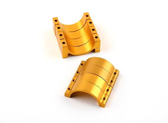 Goud geanodiseerd Tweezijdige CNC Aluminium Tube Clamp 25mm Diameter