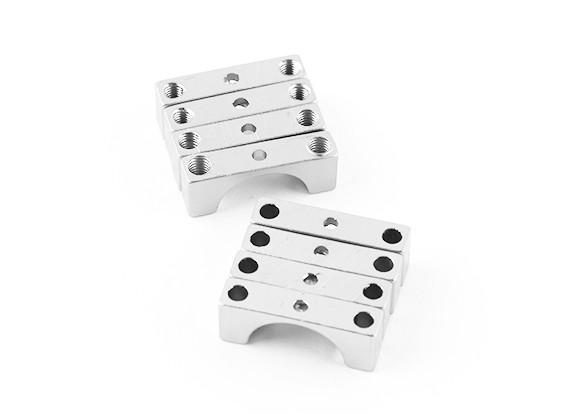 Zilver geanodiseerd Tweezijdige CNC Aluminium Tube Clamp 12mm Diameter