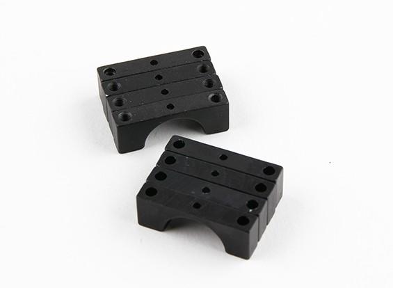 Zwart geanodiseerd Tweezijdige CNC Aluminium Tube Clamp 14mm Diameter