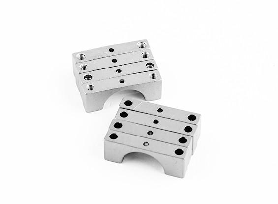 Zilver geanodiseerd Tweezijdige CNC Aluminium Tube Clamp 14mm Diameter
