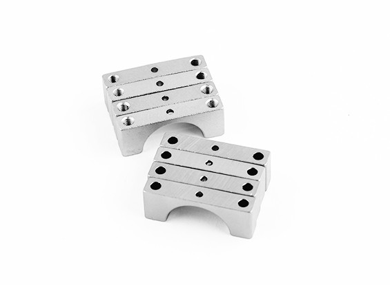 Zilver geanodiseerd Tweezijdige CNC Aluminium Tube Clamp 15mm Diameter