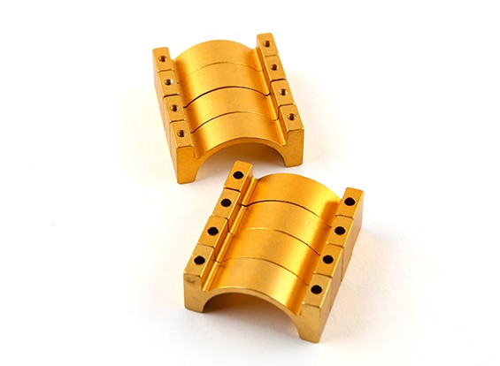 Goud geanodiseerd Tweezijdige CNC Aluminium Tube Clamp 25mm Diameter