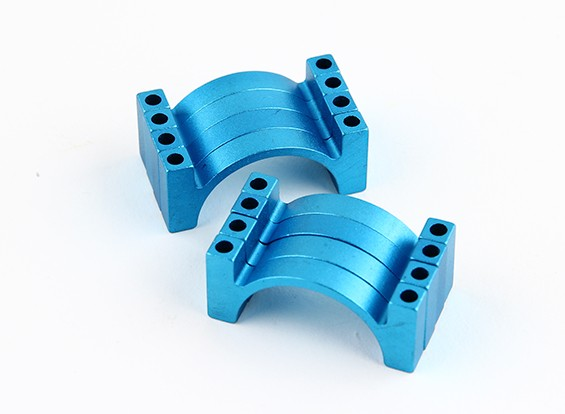 Blauw geanodiseerd Tweezijdige CNC Aluminium Tube Clamp 25mm Diameter