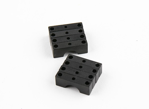 Zwart geanodiseerd Tweezijdige CNC Aluminium Tube Clamp 8mm Diameter