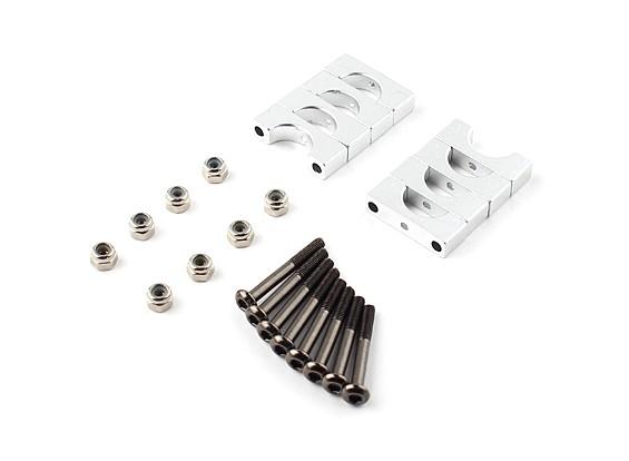 Zilver geanodiseerd Tweezijdige CNC Aluminium Tube Clamp 10mm Diameter