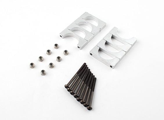 Zilver geanodiseerd Tweezijdige CNC Aluminium Tube Clamp 20mm Diameter