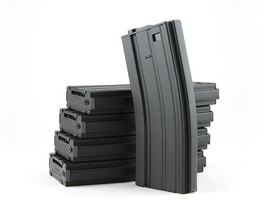 King Arms 300 rondes wind-up metal magazines voor M4 / M16 AEG (zwart, 5 stuks / doos)