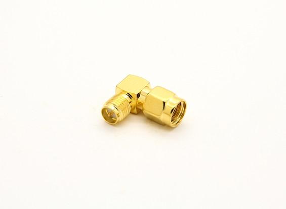 RP-SMA Jack <-> RP-SMA Plug 90 graden Adapter
