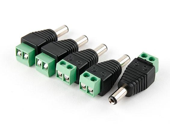 2.5mm DC stekker met schroef Terminal Block (5 stuks)