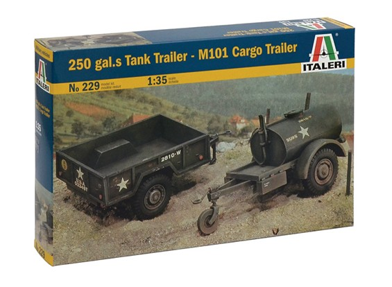 Italeri 1:35 Schaal 250 Gallon Tank Trailer - M101 Cargo Trailer Model Kit