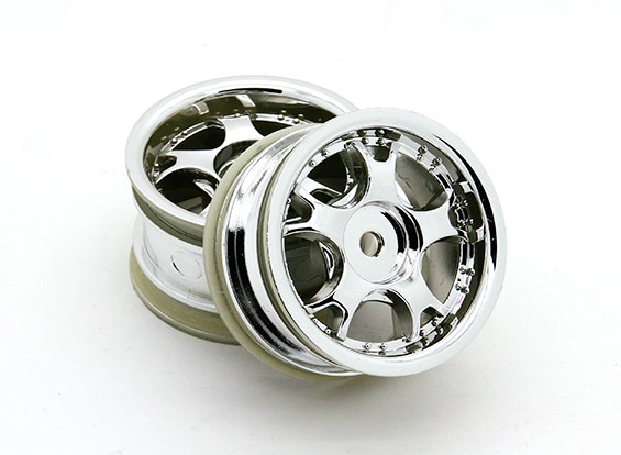 Ride 1/10 Mini 5W Spoke Wheel 0mm Offset - Chome zilver (2 stuks)