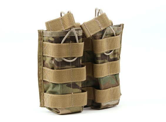 SWAT Cordura M4 Open-Top Molle Double Magazine Pouch (Multicam)