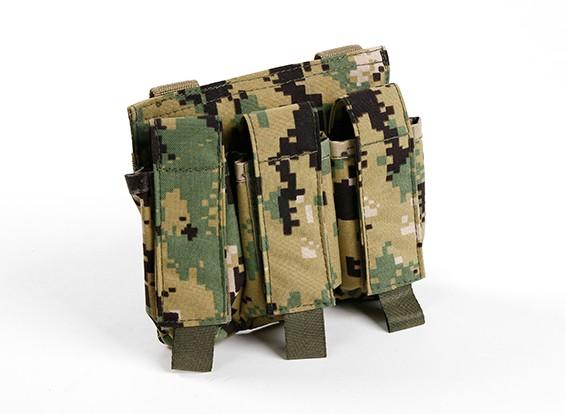 SWAT 500D Nylon Molle Handgun Triple Mag Pouch (AOR2)