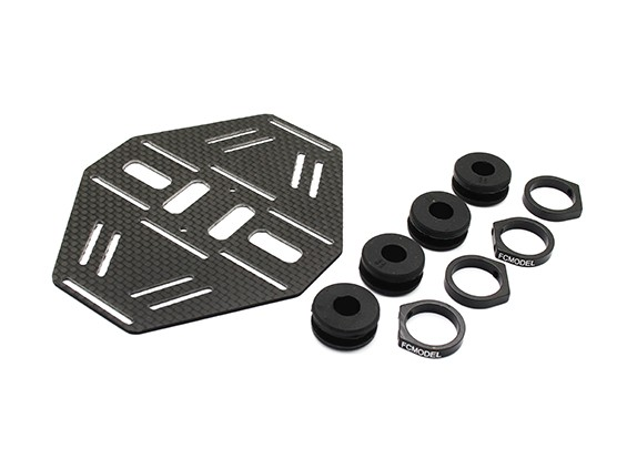 Carbon Multi-Rotor Dual Battery Mount met Rubber Damping Suits 8mm Booms