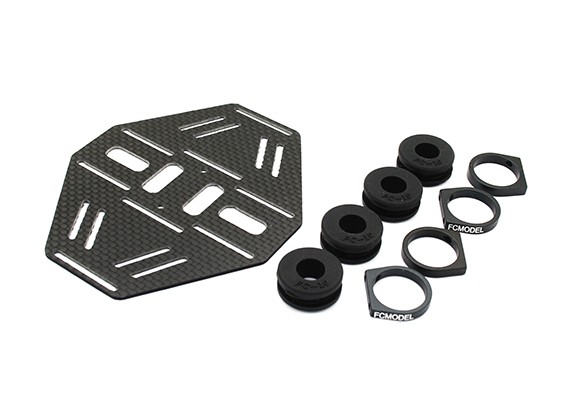 Carbon Multi-Rotor Dual Battery Mount met Rubber Damping Suits 10mm Booms