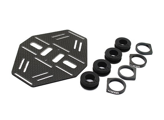 Carbon Multi-Rotor Dual Battery Mount met Rubber Damping Suits 12mm Booms