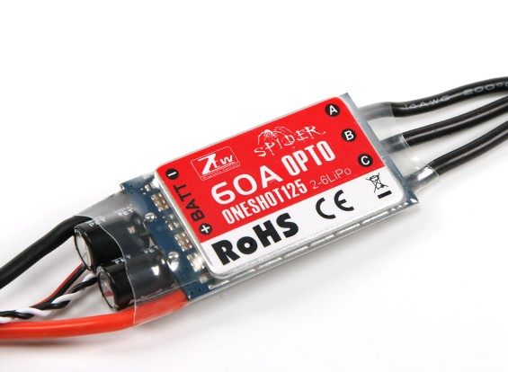 ZTW Spider Serie 60A OPTO Multi-Rotor ESC 2 ~ 6S w / 12V Out (SimonK Firmware)